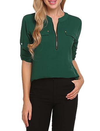 d75e51040 ANGVNS Women Long Sleeve Round Neck Floral Chiffon Tunic Shirts for Women,  Dark Green,