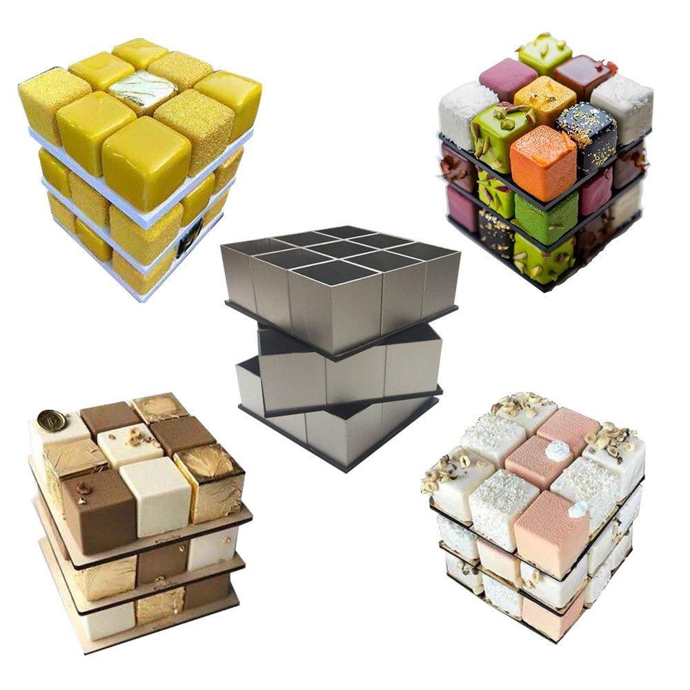 HAIT Rubik's Cube Cake Mousse Mold Aluminum Alloy Pastry Rotate DIY Baking Dessert Suit Appliance