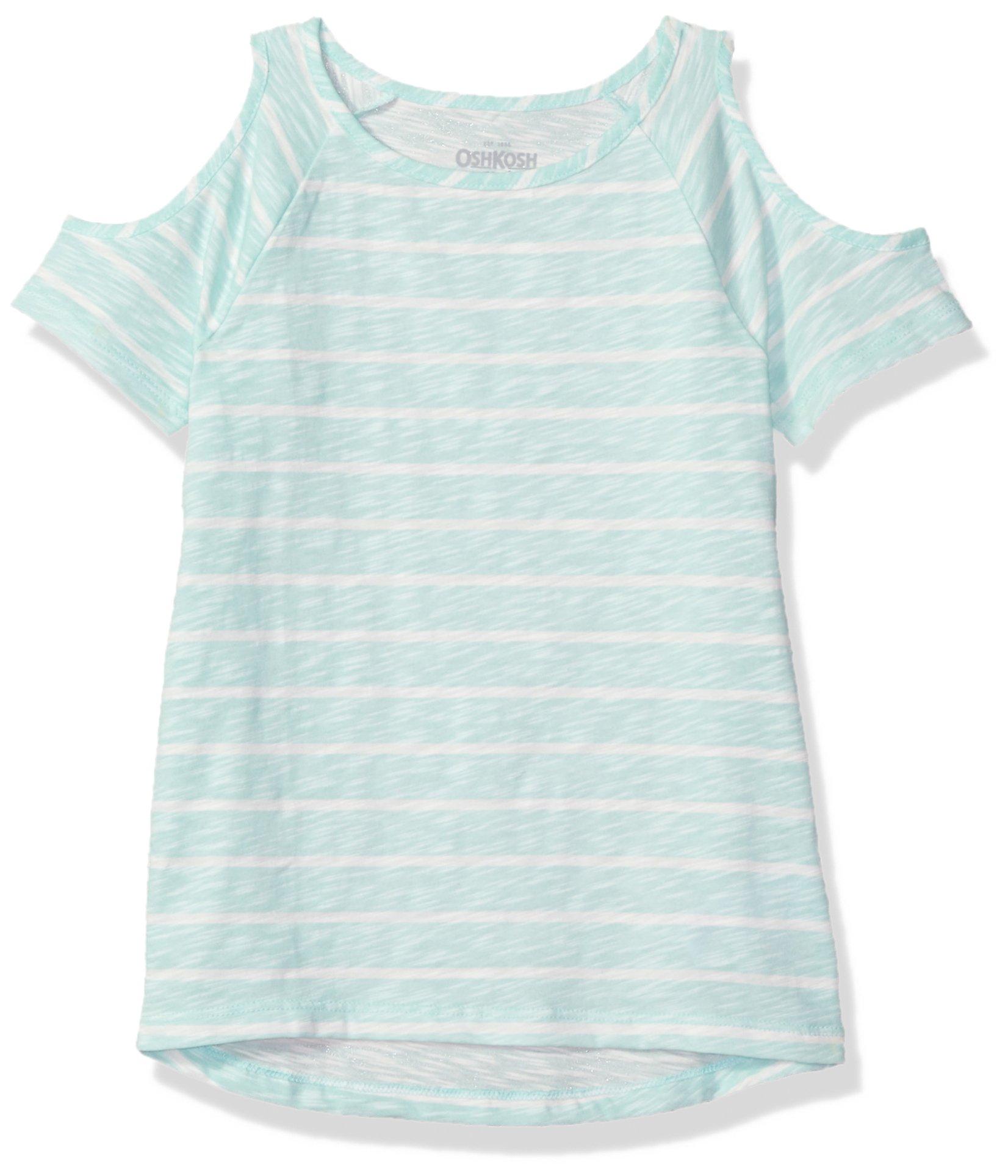 Osh Kosh Girls' Kids Fashion Tops, Aqua Stripe, 7