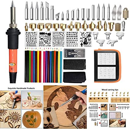 Goden 2 71 Pcs Wood Burning Tool Kit Professional Pyrography Pen Kits Soldering Iron Set with Temperature Adjustment Soldering//Carving Embossing Tips Stencil Stand Carrying Case Creative