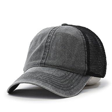 vintage washed cotton soft mesh adjustable baseball cap charcoal black brim caps top