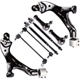 SCITOO 8pcs Suspension Kit 2 Lower Control Arm 2 Inner 2 Outer Tie Rod End 2 Sway Stabilizer Bar Link for 2006-2009 Ford Fusion 2006 Lincoln Zephyr 2006-2009 Mercury Milan K80250