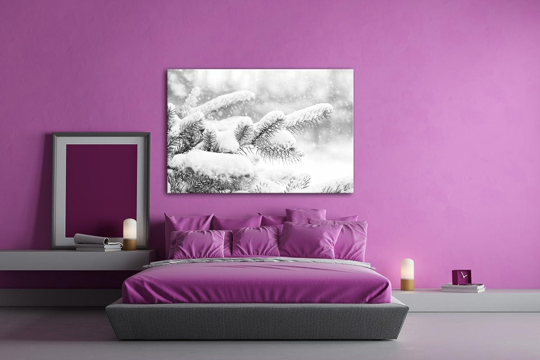 Deyoli Kiefernzweige im im im Winter Effekt  Schwarz Weiß Format  120x80 als Leinwandbild, Motiv fertig gerahmt auf Echtholzrahmen, Hochwertiger Digitaldruck mit Rahmen, Kein Poster oder Plakat f44db7
