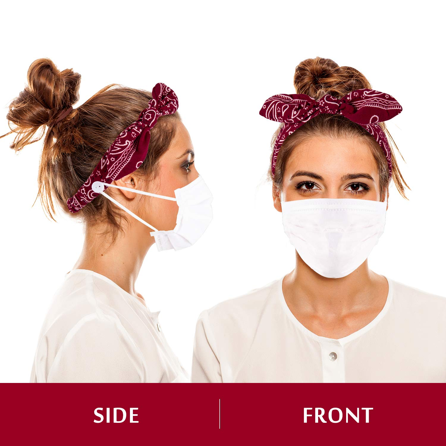 Whaline 6Pcs Button Headbands Paisley Rabbit Ear Headbands Stretchy Adjustable Bow Knotted Ear Saver Holder Soft Twisted Hair Wrap Accessories for Nurses Doctors Women Girls