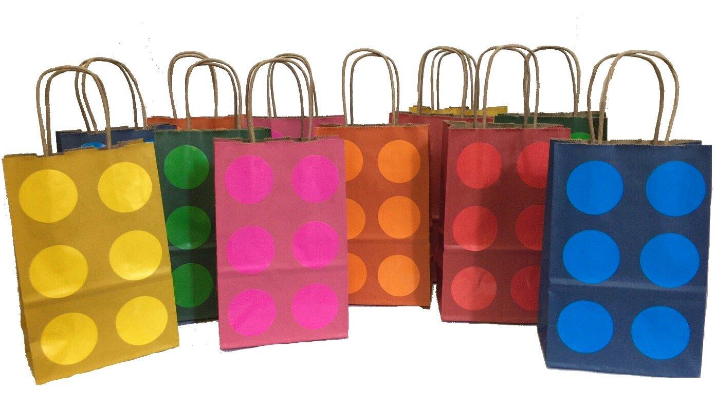12PK Brick Theme Party Favor Bags Assorted Colors