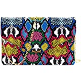 Snake Print Leather Envelope Clutch Purse with Crossbody Chain Strap
