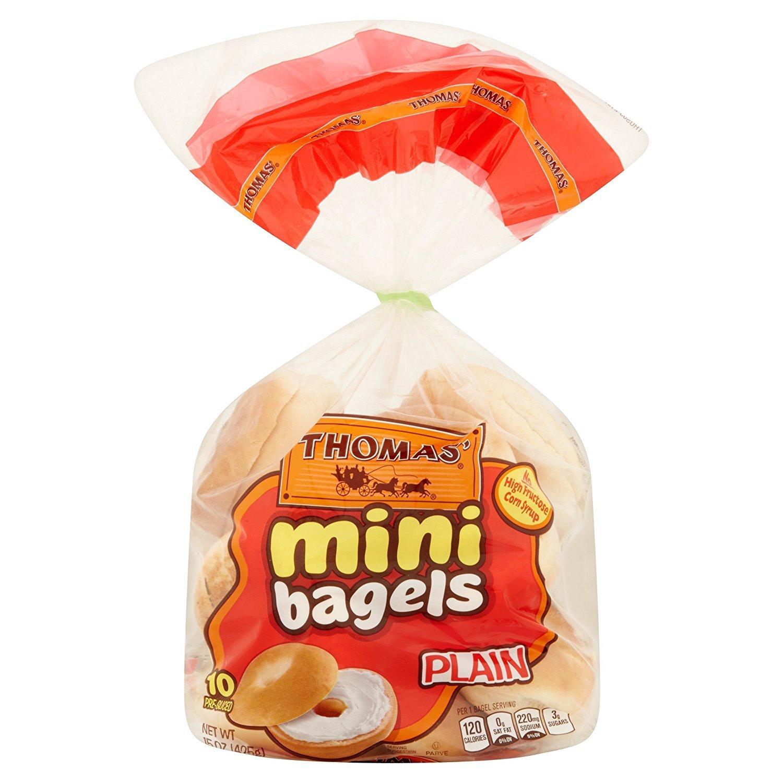 Thomas' Mini Plain Pre-sliced Bagels 15 Oz 2 Packs