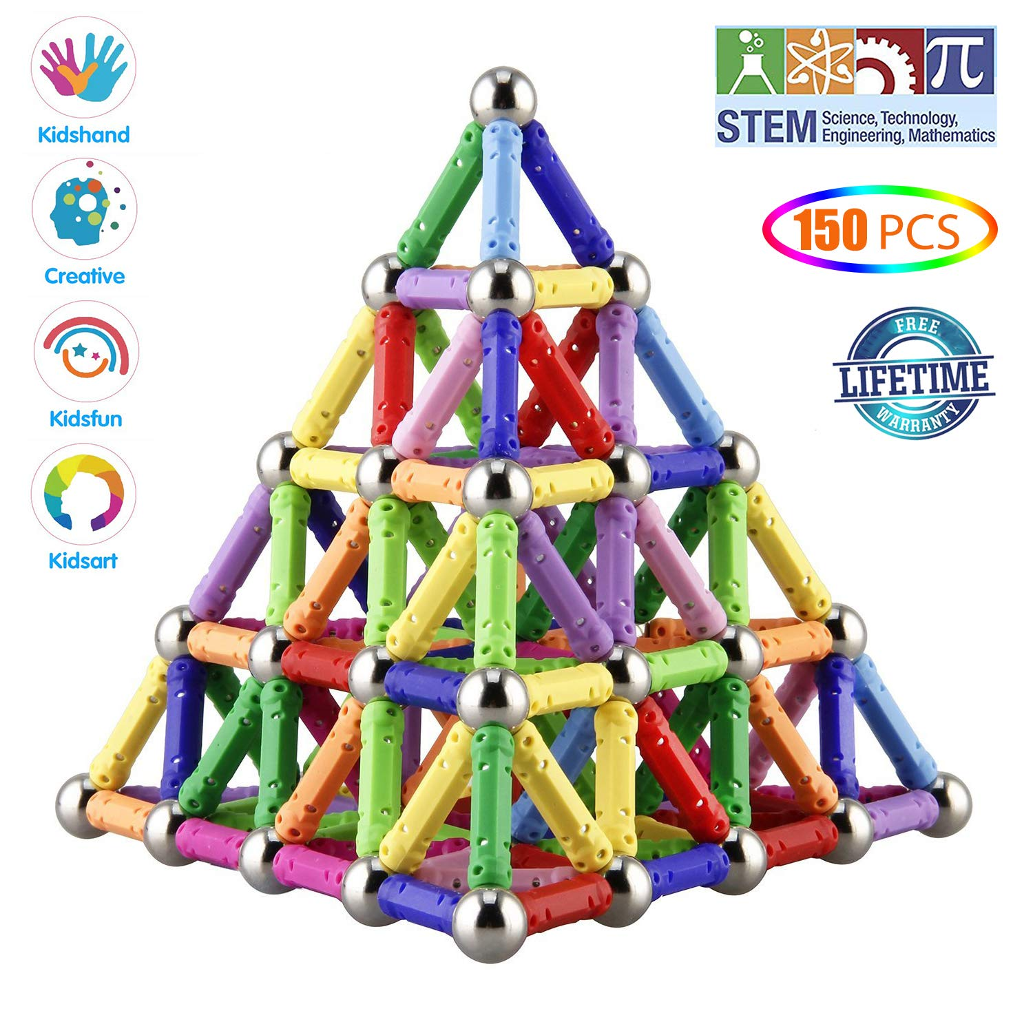 Veatree 150 Pieces Magnetic Building Sticks Building Blocks Set, Magnet Educational Toys Magnetic Blocks Sticks Stacking Toys Set for Kids and Adult, Construction Toys 3D Puzzle with Storage Bag by Veatree