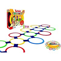 TEMSON 10 Rings & 10 Ring Clips Twister Hopscotch Active Indoor Play Game Complete Set with Box for Children Kids Play for Fun