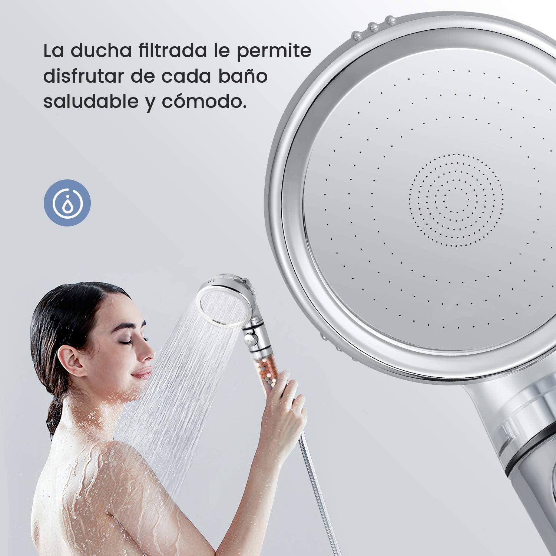 ducha regulable con manguera y soporte ajustable alcachofa ducha ahorro agua con filtro Telefono ducha con Regulador de presi/ón agua y bot/ón de STOP Kit completo ducha ba/ño.Modelo 2020 Kit Base 1