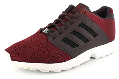 New Mens/Gents Burgundy Adidas Originals Zx Flux Fashion Trainers. - Burgundy/White