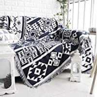 Double Sided Use Tapestry Couch Throw with Decorative Tassels, 51X70 Inch Couch Cover