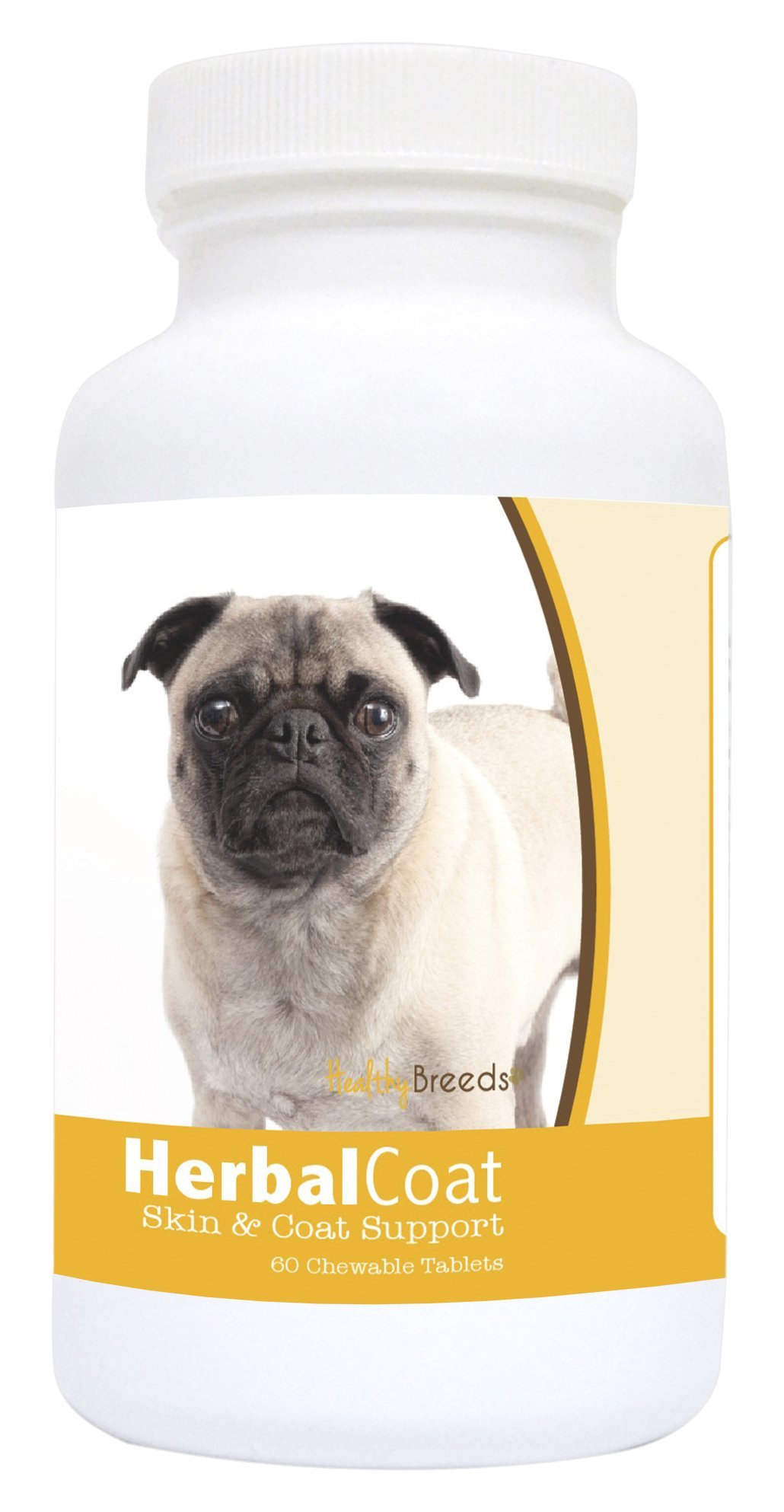 Healthy Breeds Dog Herbal Skin And Coat Support Chewable Supplement For Pug - Over 80 Breeds - All Natural Ingredients - Helps Shedding - 60 Treat Chews by Healthy Breeds