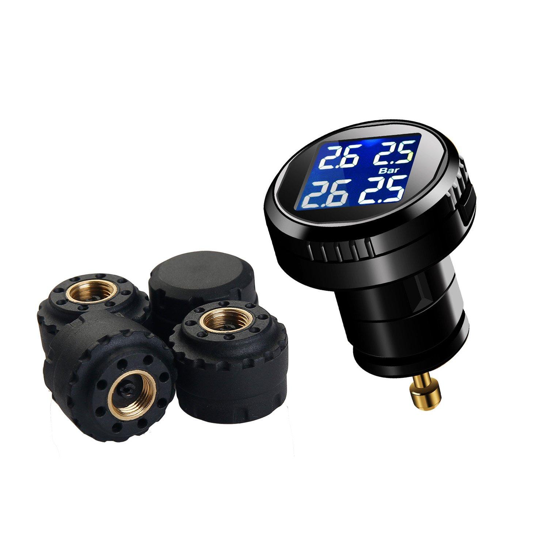 Vesafe® Reifendruckkontrollsystem TPMS, Echtzeit Zigarettenanzünderstecker RDKS CL-201, mit 4 externen Kappensensoren (0-6bar/0-87 psi). Monitor zeigt Druck und Temperatur von 4 Reifen gleichzeitig