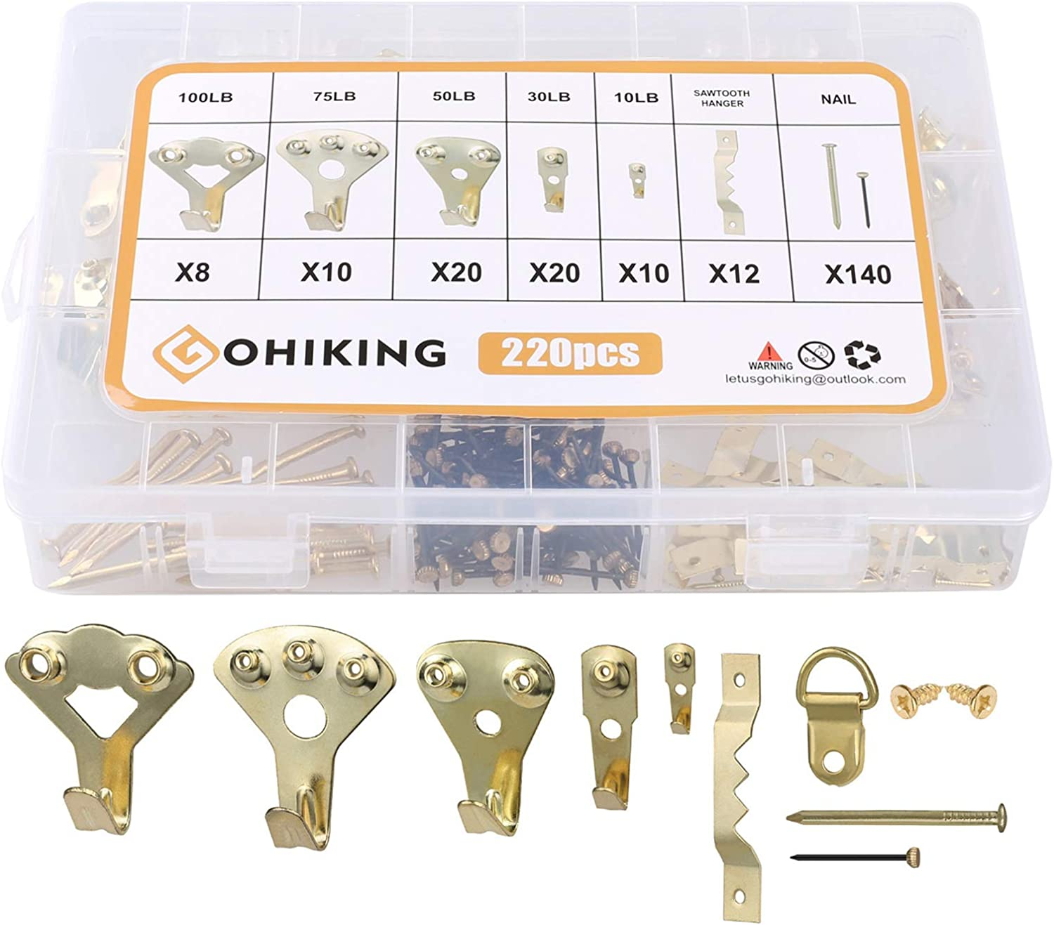 GOHIKING Heavy Duty Picture Hanger Hooks with Nails Kit | Drywall Plaster Wood Wall Frame Nails Hooks Hanging Kit for 30lbs Support - Picture Nails Hardware Kit for Home Office Pictures Galleries