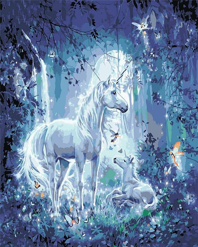 WACYDSD Pintar por Números Espíritu Unicornio Pintura Al Óleo ...