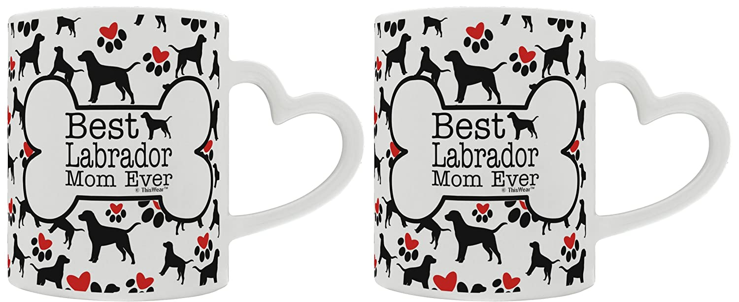 Labrador Retriever Gifts Best Labrador Mom Ever Dog Owner Gifts Lab Dog Lover 2 Pack Heart Handle Gift Coffee Mugs Tea Cups Heart Handle