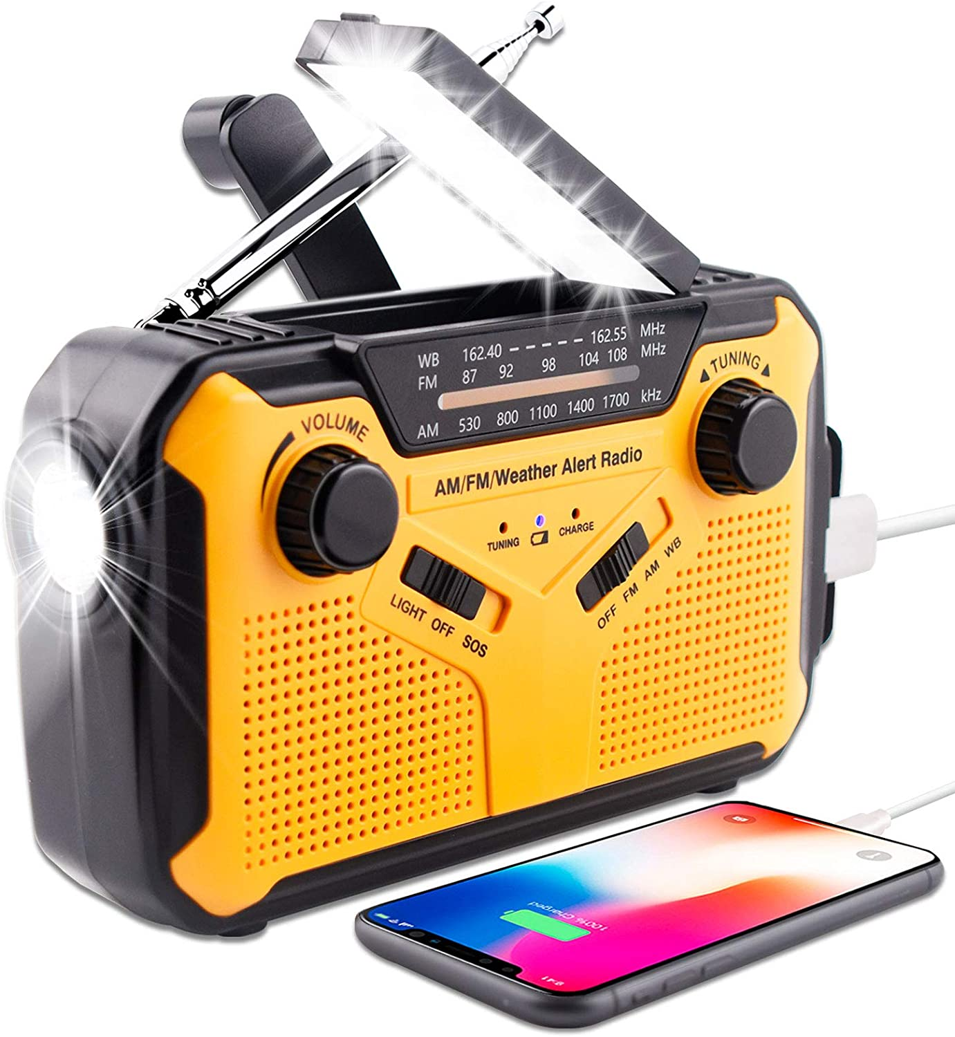 JACE Emergency Weather Radio, Portable Hand Crank Solar AM/FM/NOAA Weather Radio, With Phone Power USB Charger, 5 LED Reading Lamp, Flashlight And SOS Alarm, Suitable For Home And Emergency Situations