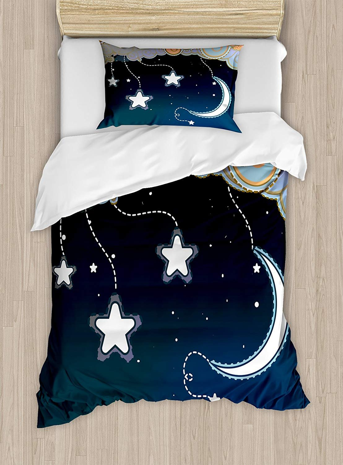 Twin XL Extra Long Bedding Set,Kids Duvet Cover Set,Cartoon Style Night Sky with Swirled Clouds Stars and Moon Dotted Lines,Cosy House Collection 4 Piece Bedding Sets