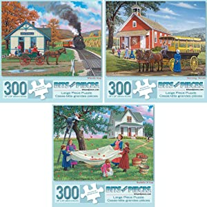 Bits and Pieces - Value Set of Three (3) 300 Piece Jigsaw Puzzles for Adults - Each Puzzle Measures 18