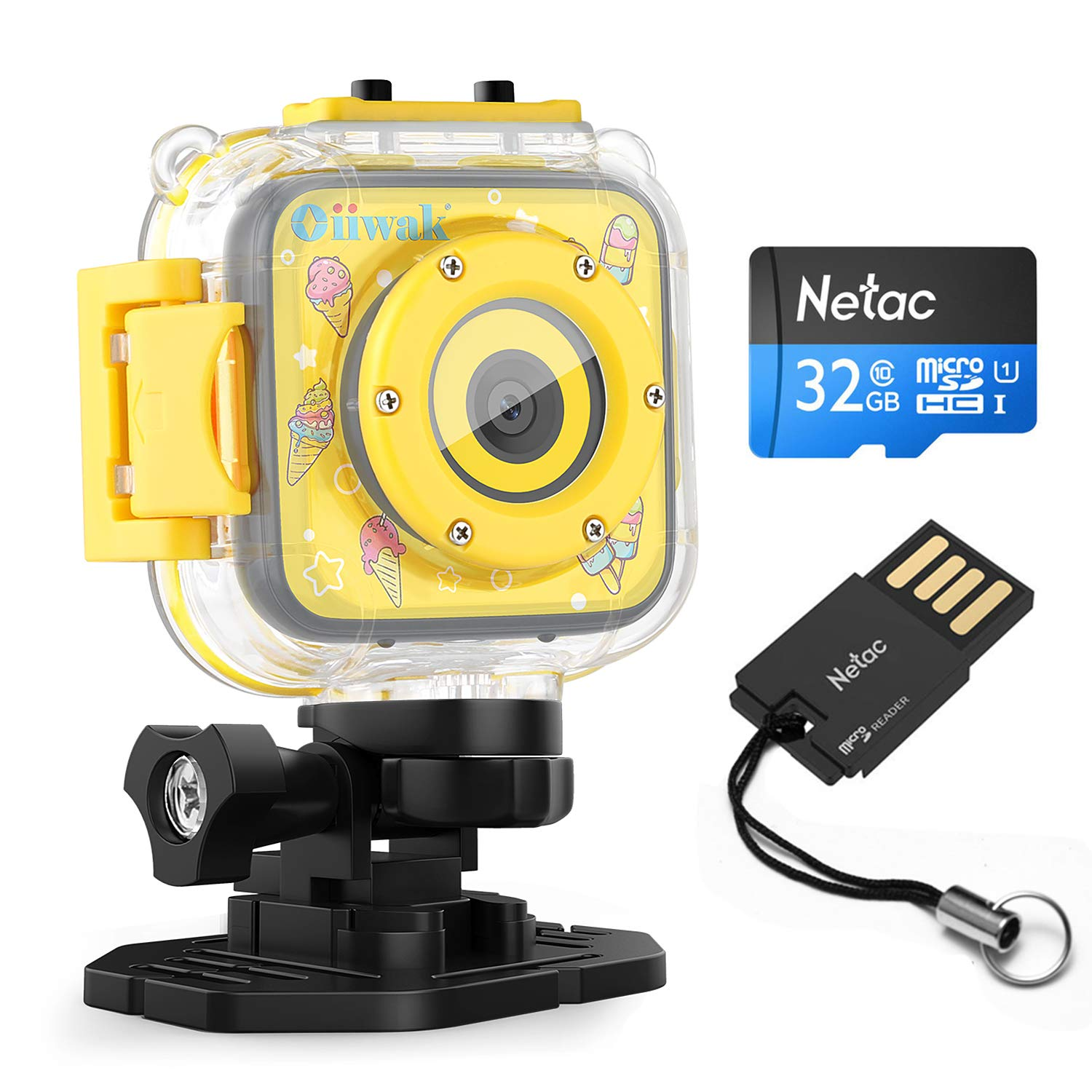 Oiiwak Children Kids Camera 5.0 MP Digital Waterproof Camera with Video Recorder for Girls Birthday Gift Learn Camera Includes 32GB Memory Card (Yellow)