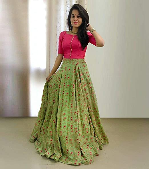 29d773b3b2 RR Crafts&Creations Indian Women Fashion Designer Lehenga Choli for Party  wear Women's Taffeta Silk Lehenga Choli