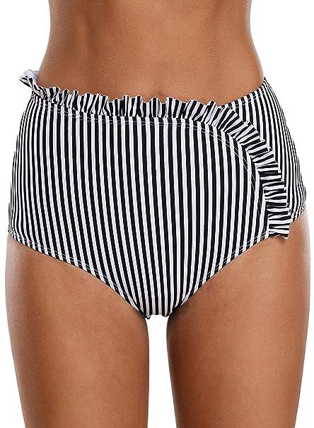 3d8a97ca147c2 Amazon.com  HOTAPEI Women Full Coverage High Waisted Swimsuit Tankini Bikini  Bottoms Swim Brief  Clothing