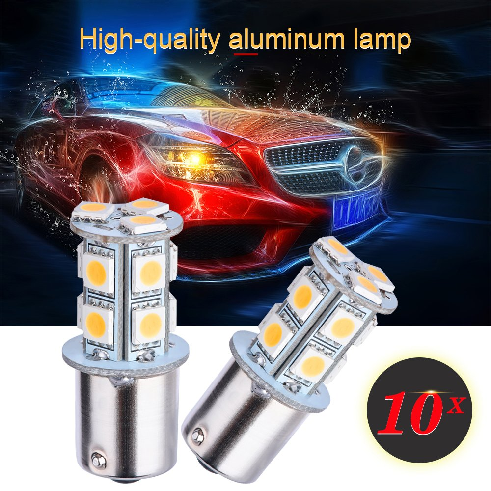 Smautop 10Pack 12V 1156 Led Bulbs White 50SMD 1206 6500K Super Bright BA15S 1129 1141 1159 1259 Replacement Interior Turn Signal DRL Car Back up Parking Tail Brake Lights-1 Year warranty