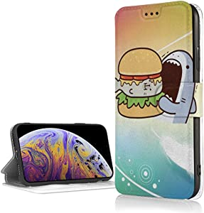 Shark, Kai Wow and Painting Fashion iPhone XR Case Leather Card Slot Wallet PU Leather Kickstand Card Slots,Double Magnetic Clasp and Durable Shockproof Cover