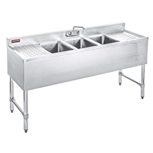"""DuraSteel 3 Compartment Stainless Steel Bar Sink with 10"""" L x 14"""" W x 10"""" D Bowl - Underbar Basin - NSF Certified - Double Drainboard, Faucet Included (Restaurant, Kitchen, Hotel, Bar)"""