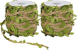 Tenn Well Burlap Leaf Ribbon, 132Feet 5mm Jute Twine Vine with Artificial Leaves for Crafts, Wedding, Jungle Party Decor (2PCS x 66Feet)
