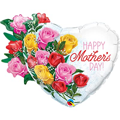 "Qualatex 55882 35"" Shape Mother's Day Rose Bouquet Foil Balloons 01ct: Toys & Games"