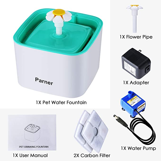 Parner - Fuente para Gatos (2,5 L, automática, para Mascotas, Muy silenciosa, con 2 filtros Intercambiables): Amazon.es: Productos para mascotas