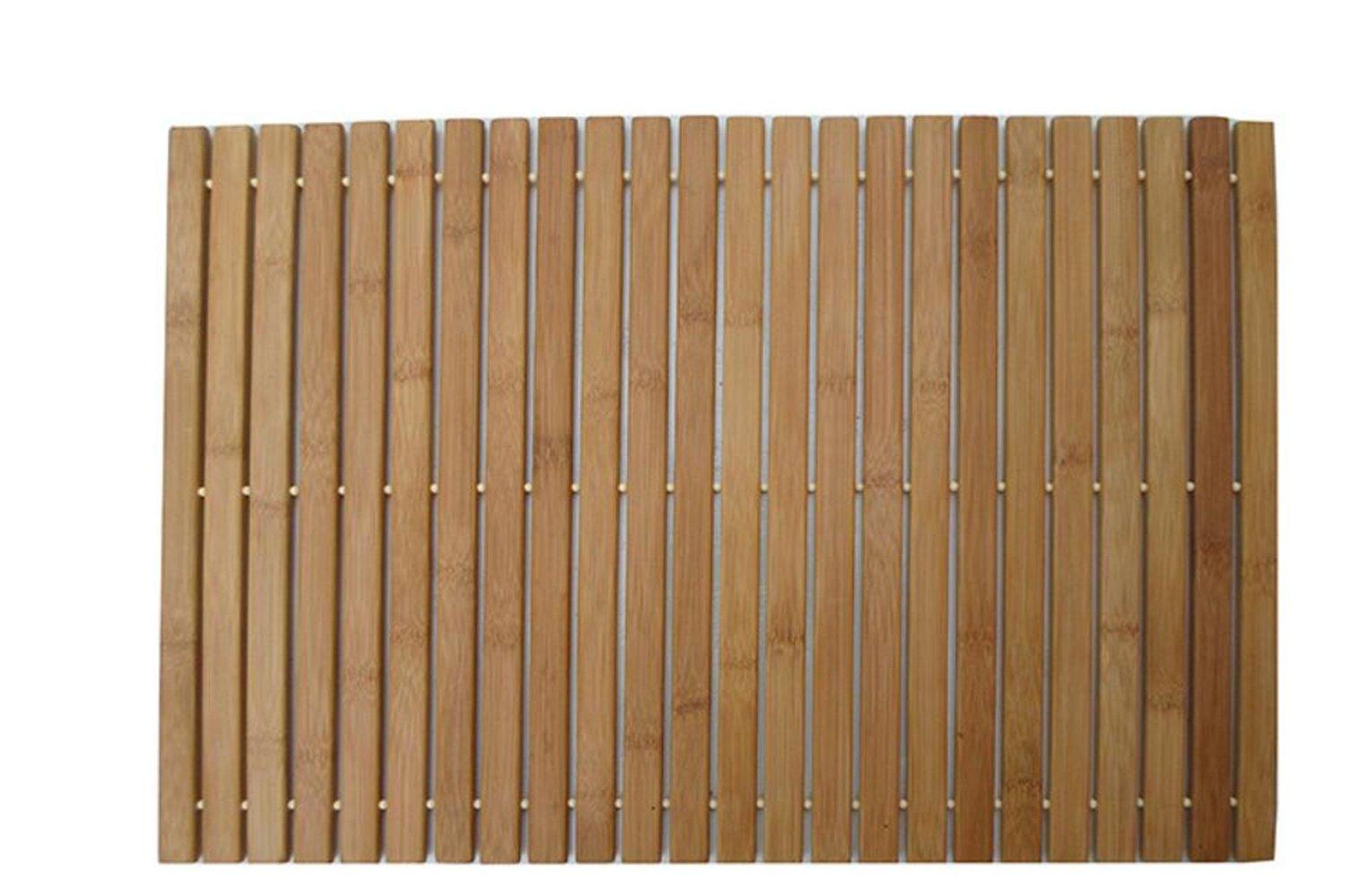 Univegrow Bathroom Bathtub Mat Foldable Bamboo Step Indoor/Outdoor Bath Shower and Floor Mat Non Slip Bottom Water Resistant Vented Design HomeToilet Spa Sauna Mat (L23.6 W15.7)