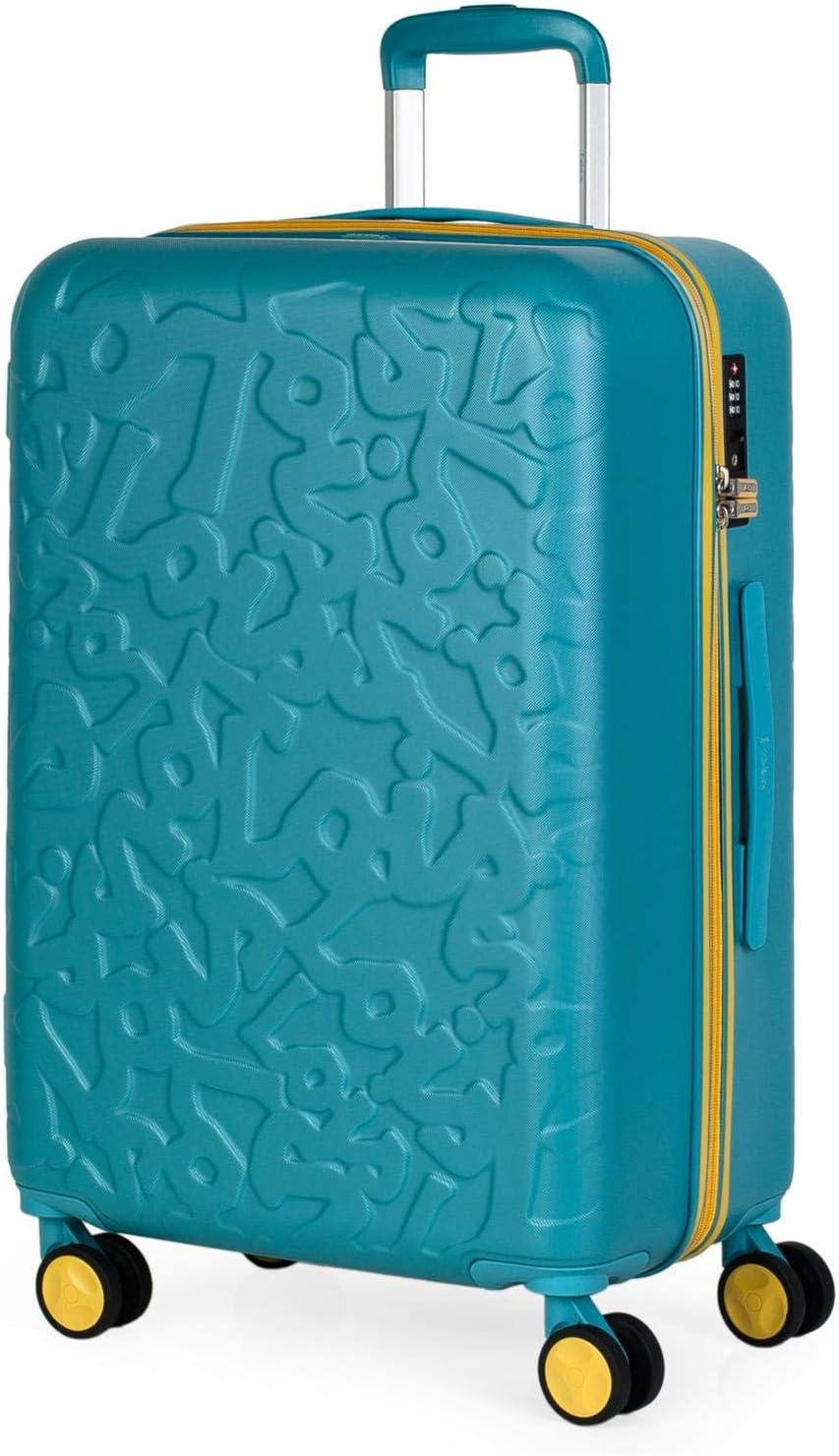 Lois - Maleta de Viaje Mediana 4 Ruedas Trolley. 66 cm Rígida de ABS. Dura Resistente Práctica Cómoda Ligera y Bonito Diseño Marca. Candado TSA. 171160, Color Aguamarina