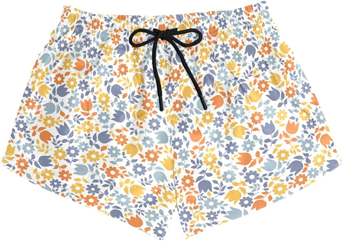 HEOEH Womens Colorful Flower Daisy Pattern Beach Shorts Pants Ladies Boardshort Swimming Trunks