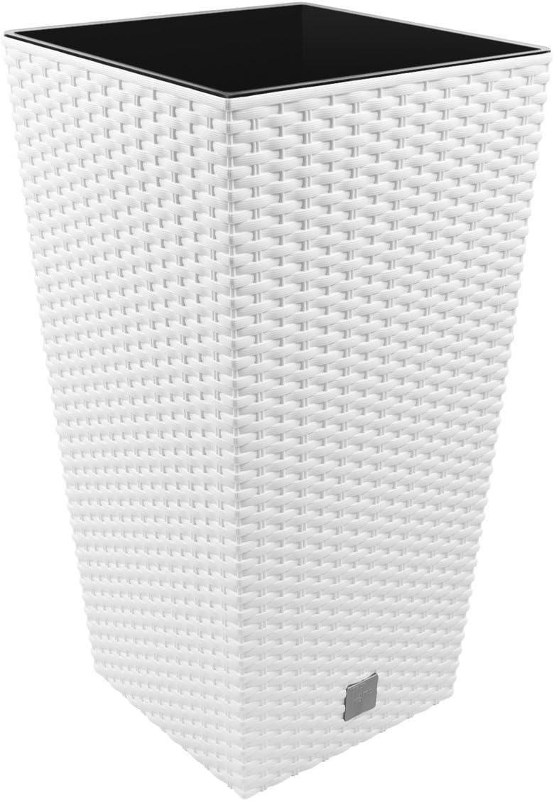 Prosper Plast DRTS265-S449 26,5 x 26,5 x 50 cm Maceta Cuadrada «Rato» - Blanca (12 Piezas).