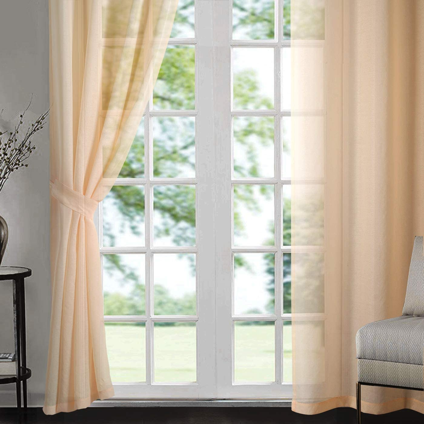 Singinglory Voile Curtains Set of 2 with Tiebacks,Sheer Net Solid Transparent Window Drop (Pale gold/Peach orange,52X90)