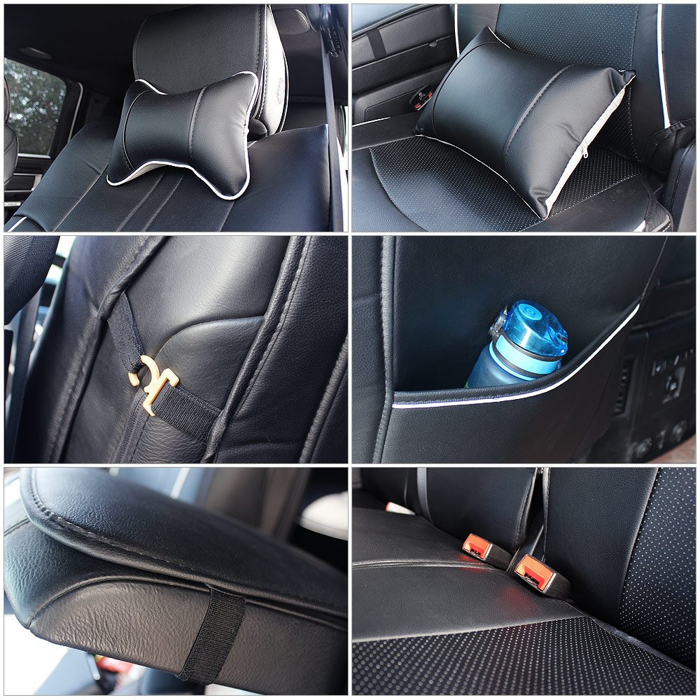 Fly5D PU Leather Car Seat Covers Front Rear Seat Cushion Cover Full Sets Apply for 2009-2017 Dodge RAM 1500 2500 3500 (Black) by Fly5D (Image #6)
