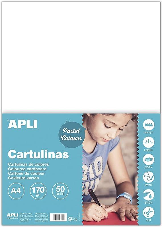 APLI Cartulinas Colores, pack de 50 cartulinas: Amazon.es: Oficina y papelería