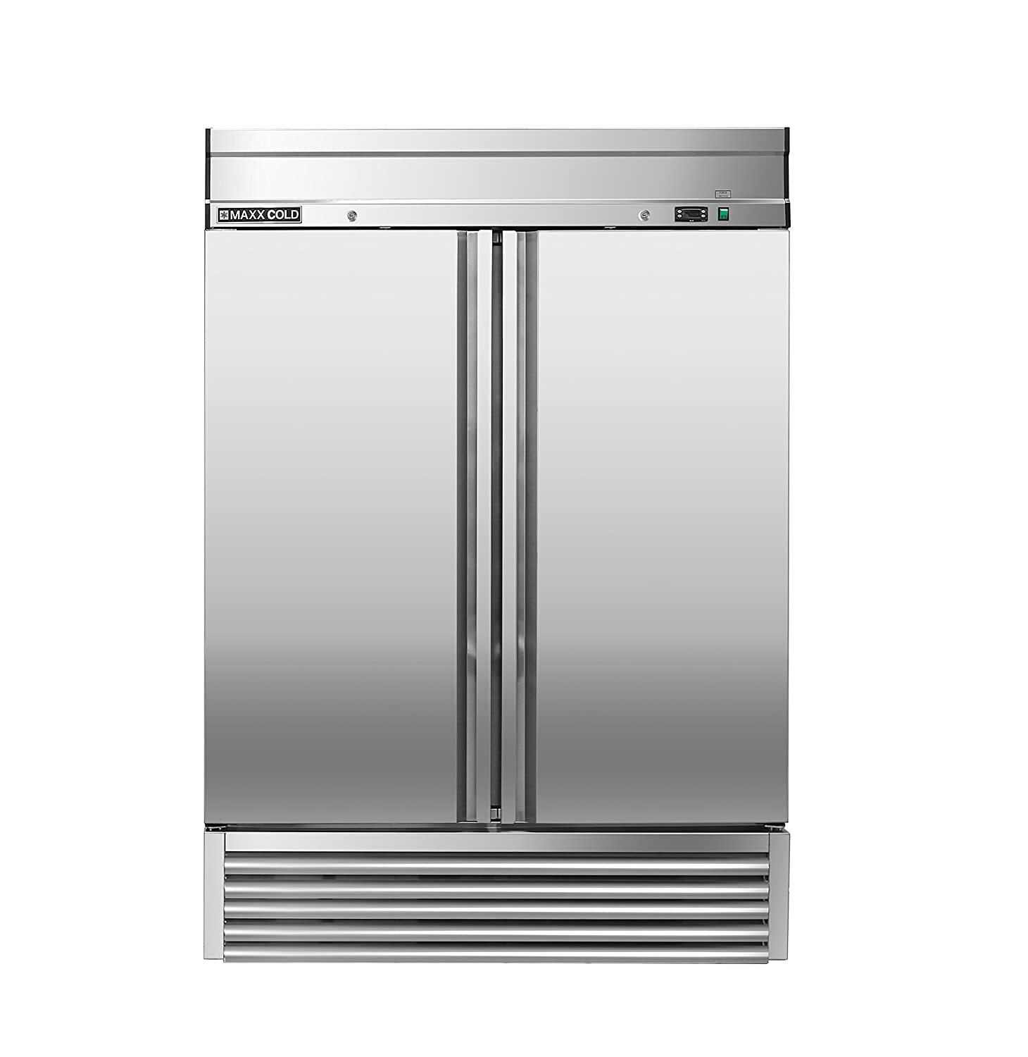 Maxx Cold MXSF-49FD 2 Two Double Door Reach In Upright Commercial Stainless Steel NSF Freezer for Restaurant Bar Hotel or Home Kitchens, 54.1 Inch Wide, Silver