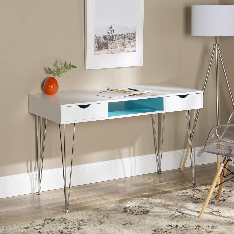 WE Furniture Mid-Century Modern Hairpin Wood Computer Writing Desk, 48 Inch, Aqua Blue