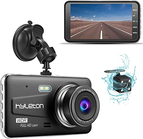 Dash Camera for Cars,hyleton 1080P HD Dual Dash Cam Front and Rear,4 IPS Screen Dashboard Camera Recorder,170 Wide Angle, G-Sensor,WDR, Night Vision,Loop Recording, Parking Monitor, Motion Detection