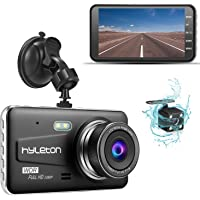 """Dash Camera for Cars,Hyleton 1080P HD Dual Dash Cam Front and Rear,4"""" IPS Screen Dashboard Camera Recorder,170°Wide Angle, G-Sensor,WDR, Night Vision,Loop Recording, Parking Monitor, Motion Detection"""
