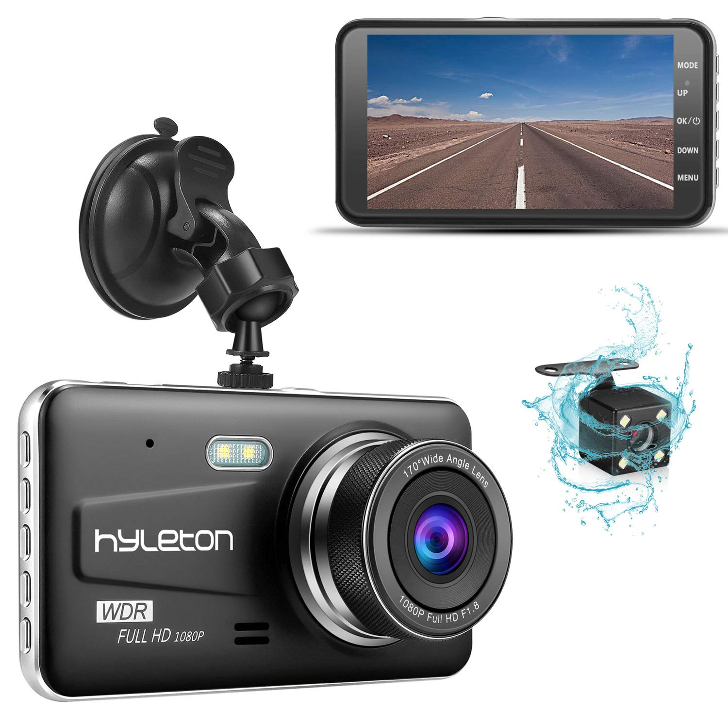 Dash Camera for Cars,hyleton 1080P HD Dual Dash Cam Front and Rear,4'' IPS Screen Dashboard Camera Recorder,170°Wide Angle, G-Sensor,WDR, Night Vision,Loop Recording, Parking Monitor, Motion Detection by hyleton