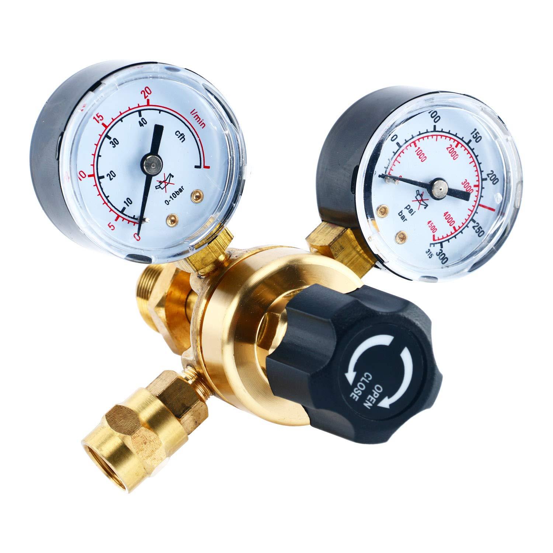 YaeTek Argon CO2 Regulators Gauges Gas Welding Regulator CGA580 Compatible with Miller Lincoln Mig Tig Weld 0-4500PSI / 0-10BAR by YAETEK