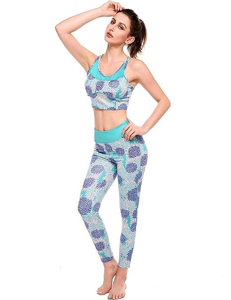 c363bcd90e9 Amazon.com  Ekouaer Sports Wear Womens Fitness Tights Yoga Bra Pants ...