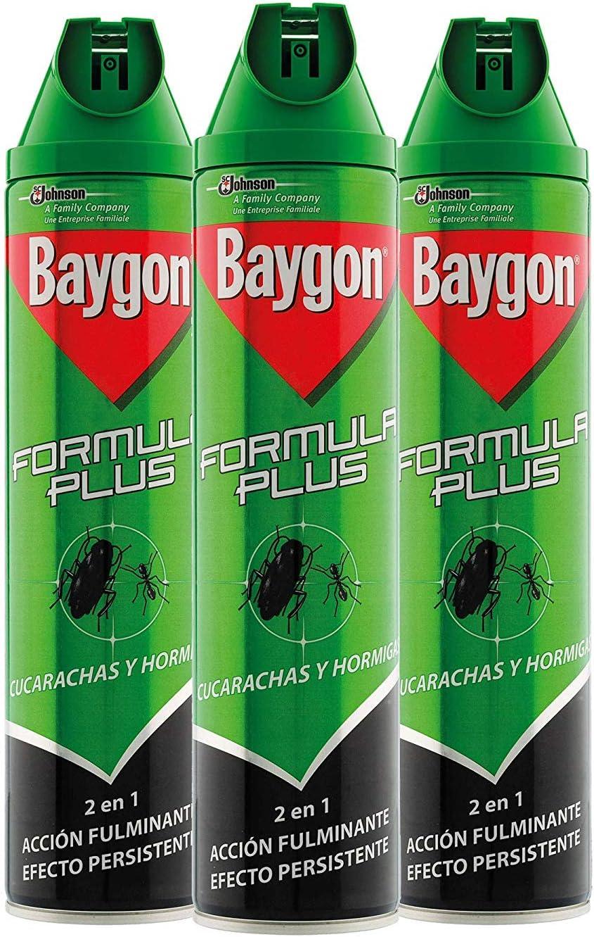 Baygon® - Insecticida contra cucarachas y hormigas, formula plus, acción rápida y efecto duradero, 600ml - Pack de 3 uds