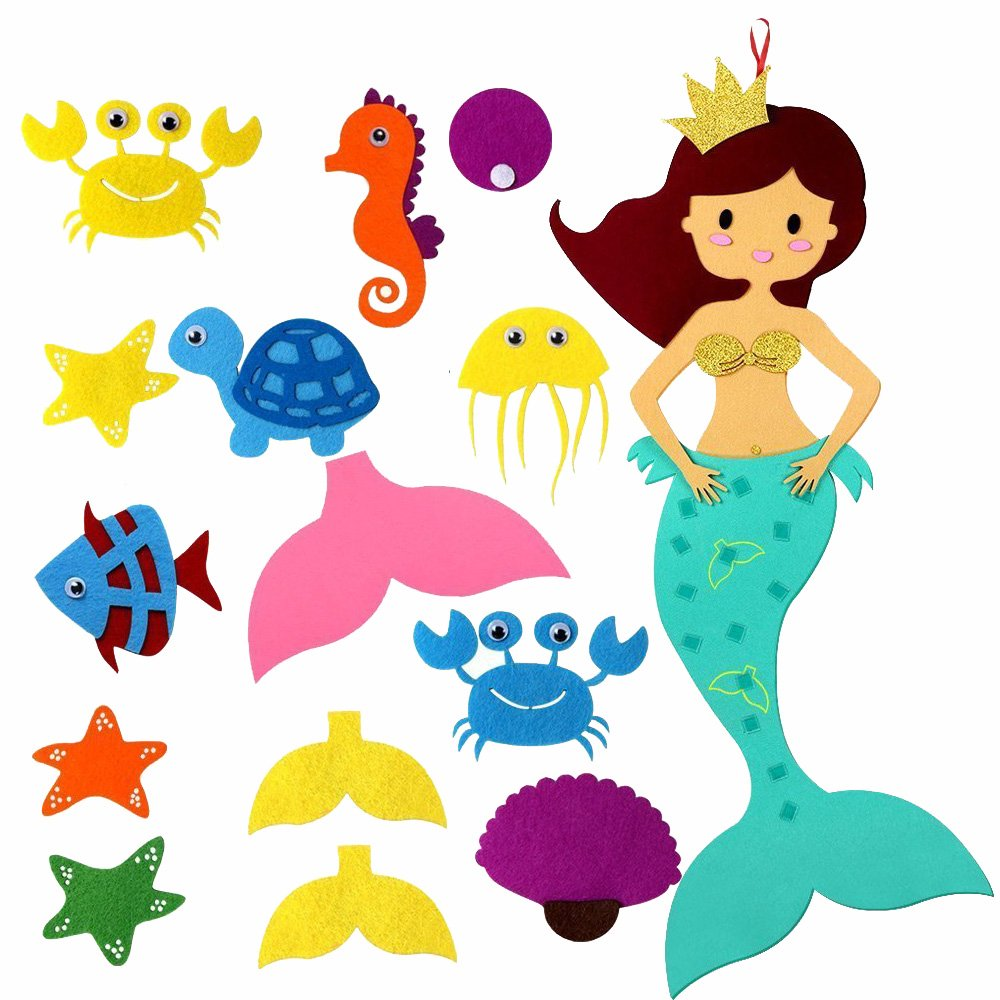 Amajoy Pin the Tail on the Mermaid Party Supplier with Felt Detachable Ornaments Kids Party Games DIY Kids Toy Home Decoration Birthday Party Decor
