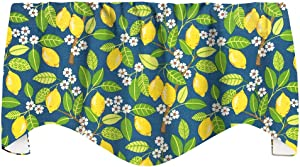 "Lemon Decor Kitchen Valances for Windows, Kitchen Curtains Window Treatments, Yellow and Blue Valances, 53"" x 18"""